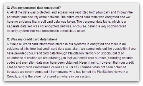 Credit card details were encrypted