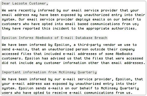 Epsilon leaks email