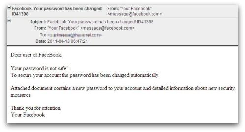 Fake Facebook support message. Dear user of FaceBook