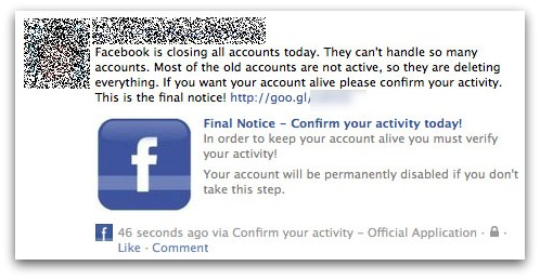 Facebook closing message
