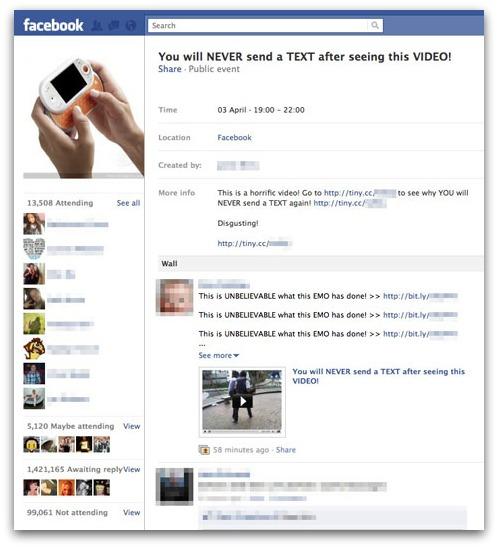 Facebook scam event