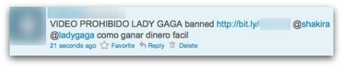 Tweet promoting banned Lady Gaga video
