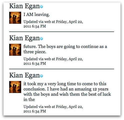 Kian Egan tweets