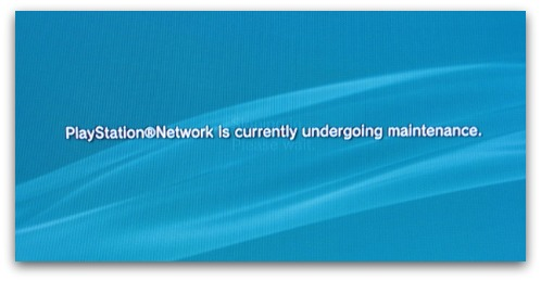 PlayStation Network maintenance message