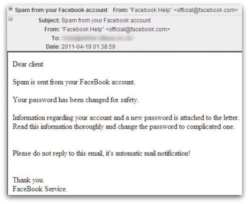 Spam is sent from your FaceBook account