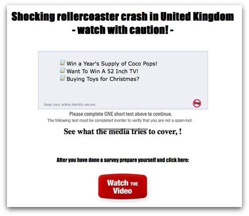Theme Park accident survey scam