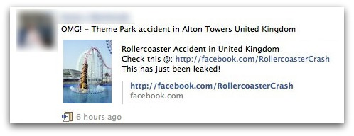 Theme Park accident message on Facebook