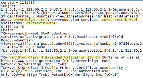 Verisign certificate issued to themselves for an unqualified host