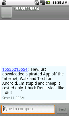 Sms message sent by Troj/Wandt-A