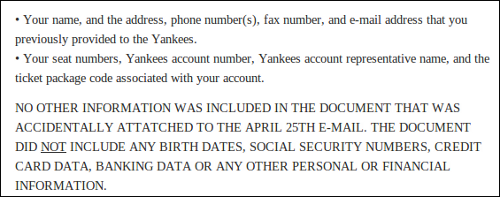 Screenshot of letter from New York Yankees