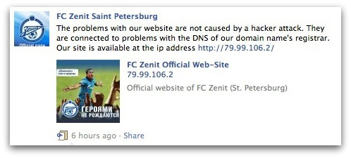 FC Zenit post on Facebook