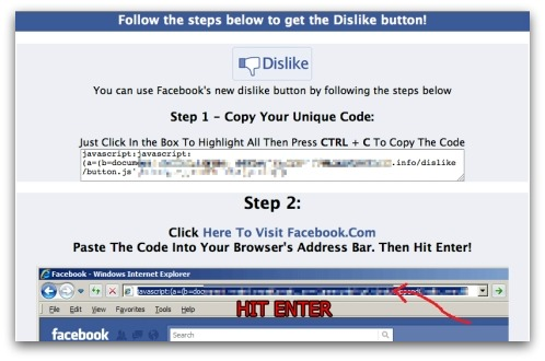 Offer of Dislike button leads you into posting script into your browser's address bar