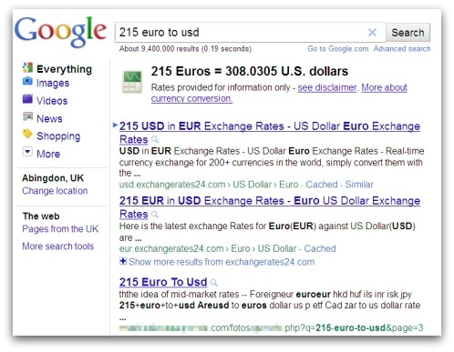 Euro to USD currency conversion search results