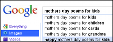 Google search for Mother's Day poems for kids