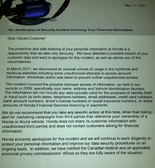 Honda Canada data breach letter