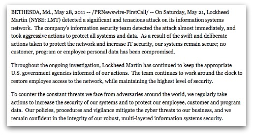 Press statement from Lockheed Martin
