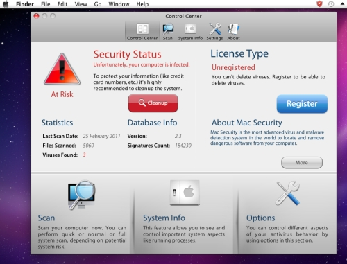 Mac Security fake anti-virus. Click for a larger version