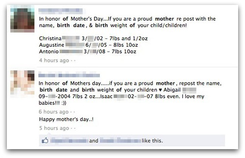 Mother's Day post on Facebook