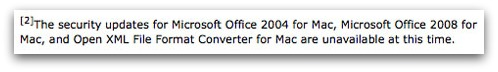 No patch for older versions of Office for Mac