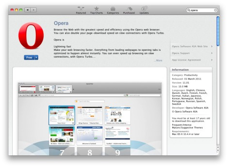 Opera on the Mac App Store
