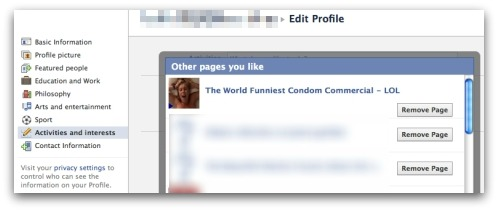 Remove Funniest Condom page from your list of Likes
