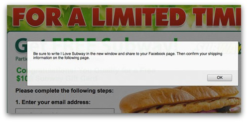 Subway gift card spam wants your email address