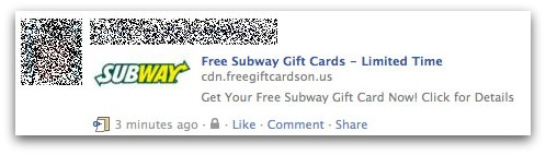 Subway Facebook message