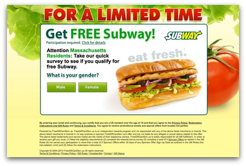 Subway gift card webpage