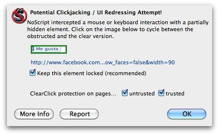 NoScript anti-clickjacking in operation