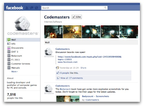 Codemasters Facebook page