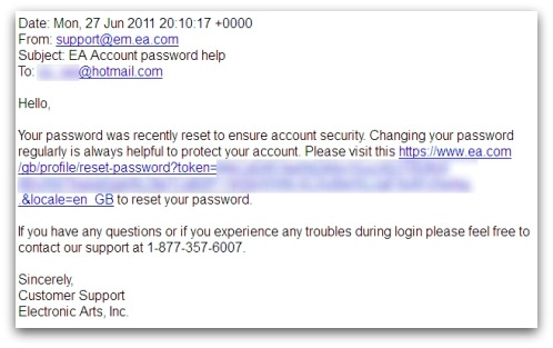 EA password reset email