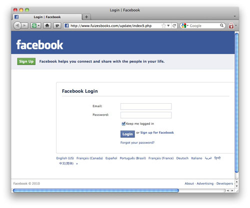 The fake Facebook login page