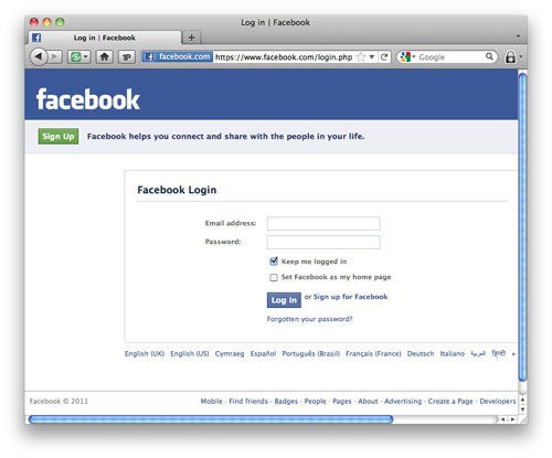 The real Facebook login page