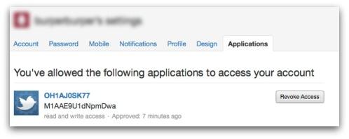 Revoke Twitter application