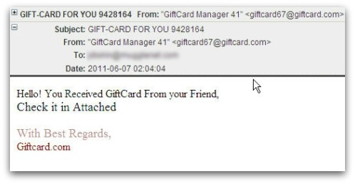 Gift card for you malicious email
