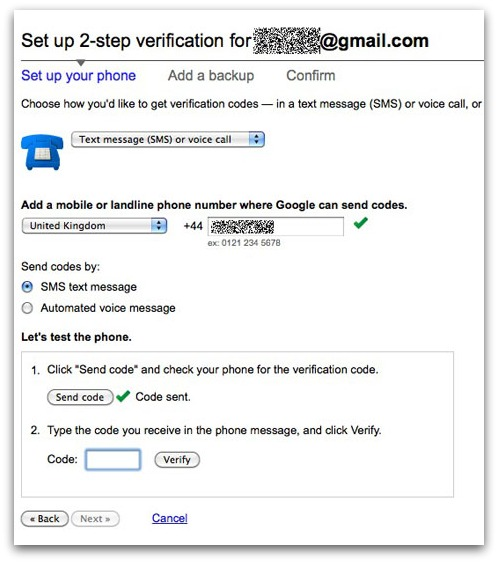 Setting up 2 step verification