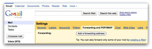 Gmail forwarding