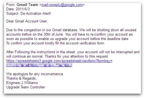 Google Docs phishing message