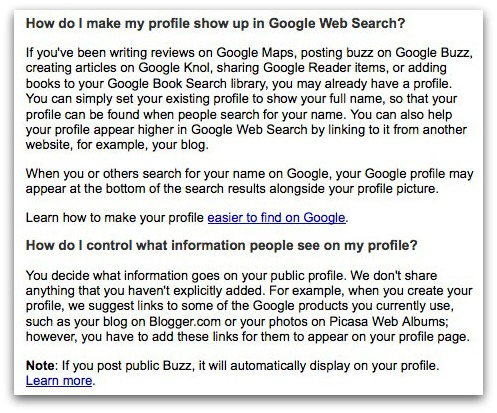 Google Profile help screen