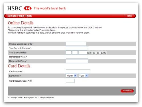 Phishing form