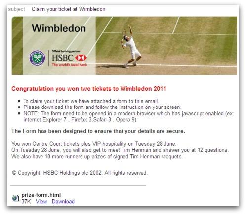 Wimbledon HSBC phishing email