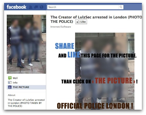 LulzSec scam on Facebook