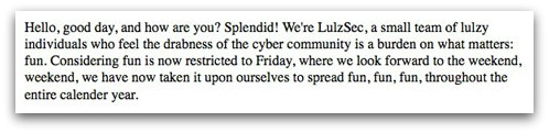 LulzSec mission statement