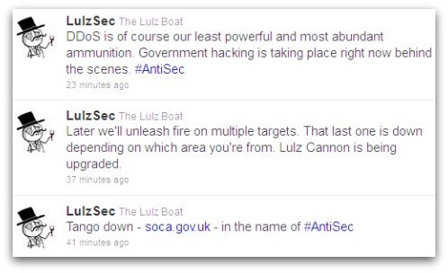 LulzSec tweets about SOCA attack