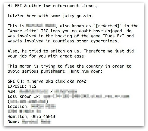 Part of a statement from LulzSec