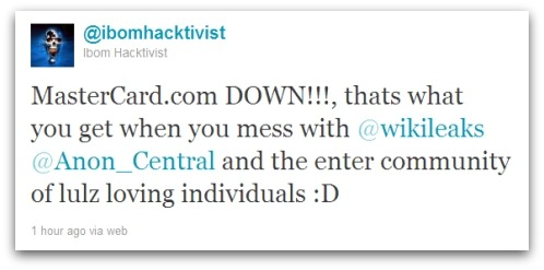 Tweet about Mastercard.com website