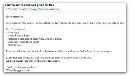 McDonalds malware email