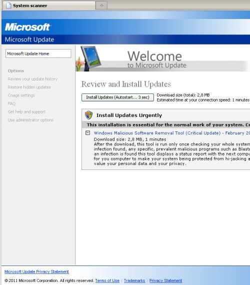 Fake Microsoft Update page. Click for larger version