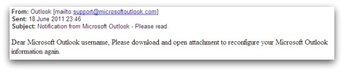 Outlook phishing email