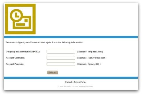 Outlook phishing form